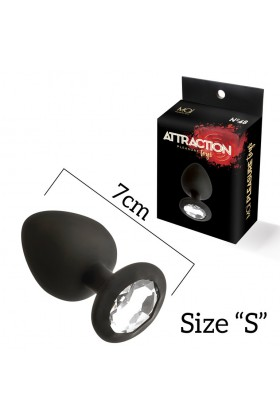 Plug silicone s con pietra mai nº 47 nero 7 cm